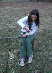 Carving a walking stick at Cub camp